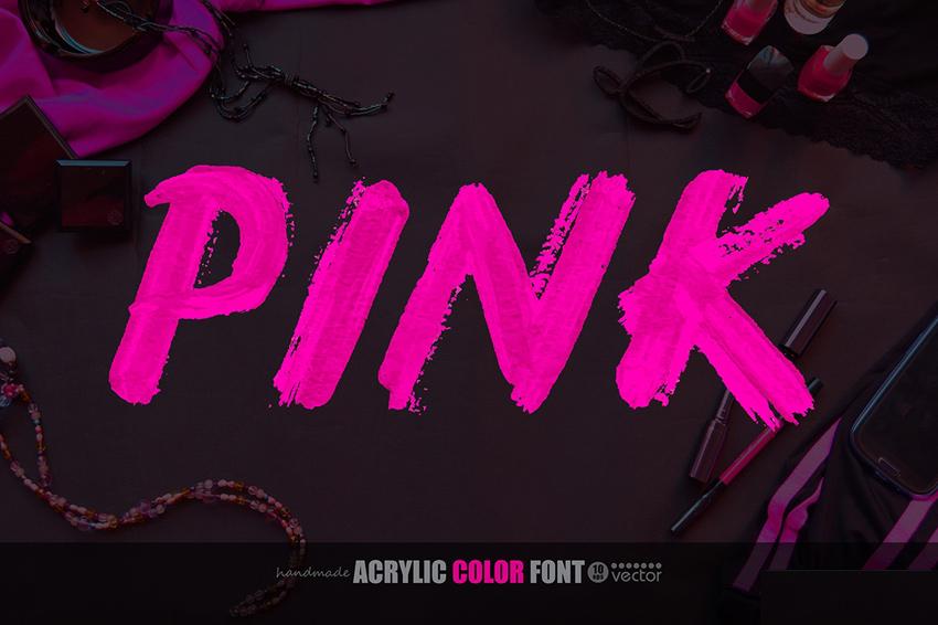 荧光粉色字体素材
