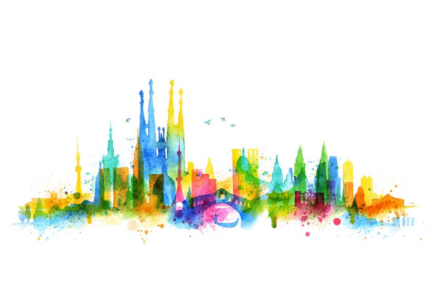 水彩城市剪影素材