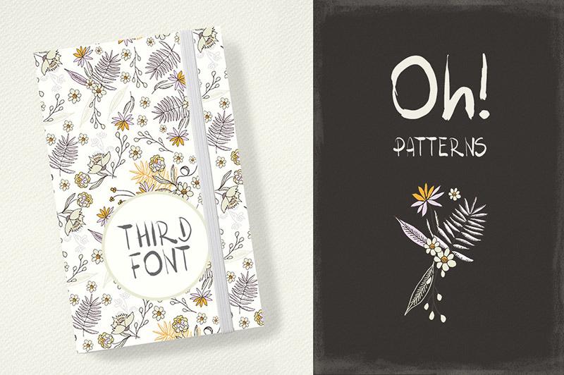 一款优雅花朵+艺术字体素材