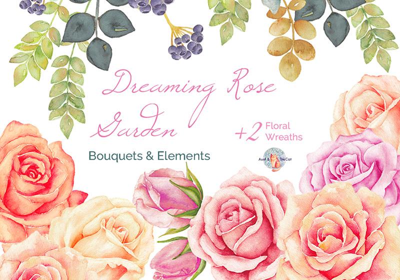 玫瑰园水彩素材