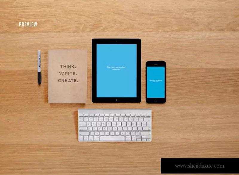 响应式网页设计预览套件样机ResponsiveMoc外套设计图图片