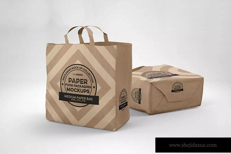 面包标签模板_中型纸袋包装设计效果图样机 Medium Paper Bags Packaging Mockup – 大设 ...