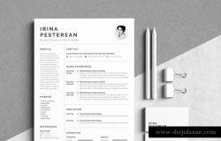 简约黑白风格个人简历设计模板 Resume|Cv_Irina Pesterean