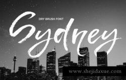 大笔刷手绘字体 Sydney dry brush font