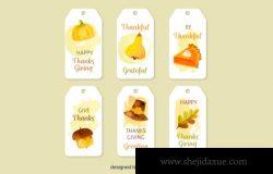 感恩节矢量标签模版素材 Thanksgiving Hanged Label Vector