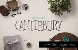 有趣的字体下载 Canterbury Bonus Mockups