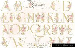 手绘水彩浪漫玫瑰花卉植物设计素材 Rose-Gold-Romance-Watercolor-Flowers