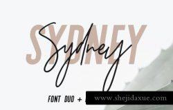 无衬线英文 Logo 字体 Logo 设计模板 Sydney Font Duo