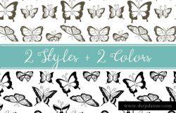 复古有趣的无缝蝴蝶背景纹理素材