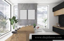 厨房模型-空白墙壁展示样机 Kitchen mockup