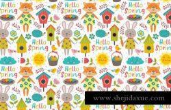 """""""您好,春天"""" 可爱的春季花卉动物插图矢量素材合集包 Hello Spring collection"""