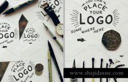 手绘风格的LOGO设计展示样机 Hand Lettering