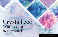 水彩风格闪亮水晶晶体背景纹理 Crystallized Watercolor Backgrounds