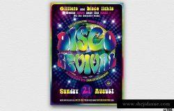 迪斯科音乐舞会活动宣传单PSD模板V3 Disco Revival Flyer PSD V3