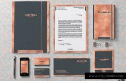 玫瑰金企业品牌标识文具套装PSD模板