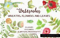 水彩花卉和树叶剪贴画