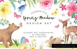 手绘水彩春天主题花卉动物元素 Spring-Flower-and-Animal-graphic-set