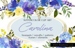 手绘水彩蓝色花卉花束花圈装饰素材 Royal Blue Watercolor Floral Clipart