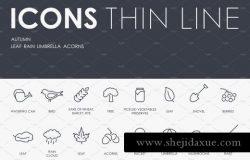 秋季矢量图标素材 Autumn thinline icons