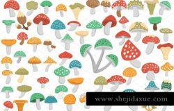 蘑菇元素简笔画图标下载 60 Mushroom Flat Icons