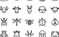 25枚动物头像主题矢量图标素材