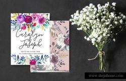 浪漫手绘水彩花卉花束花圈装饰素材