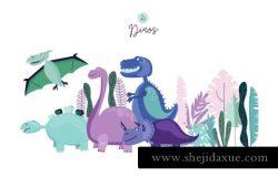 可爱卡通水彩手绘恐龙EPS矢量插画设计素材
