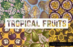 热带水果植物背景纹理图案