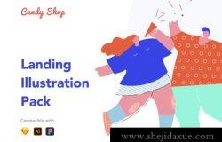 20个有趣网站矢量插图素材 Candy Shop Illustrations
