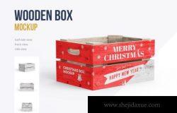圣诞木箱礼盒贴图样机模版 Christmas Box Mockup
