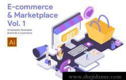 10个2.5D电子商务和市场概念矢量插图素材 E-commerce and Marketplace Vol 1
