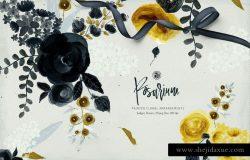 手绘水彩蔷薇花装饰素材