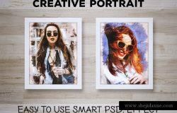 手绘效果PSD图层样式素材Creative_Portrait_Smart_PSD_Effect