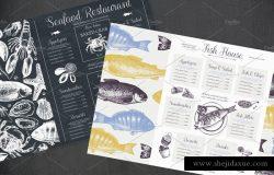 传统海鲜插图和菜单矢量设计
