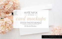 华丽的粉红绣球花便签卡片样机模板 Blush Card Mockups Bundle
