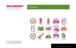 野莓系列-70枚野外露营主题矢量图标
