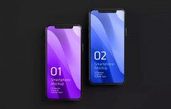 深色iPhone 11智能手机屏幕演示样机集