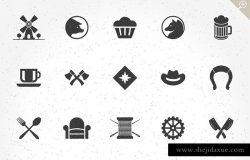 100款复古风格Logo徽章设计元素 100 Retro objects for logos