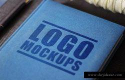 布艺封面书籍样机模板2 Perspective Logo Mockups 2