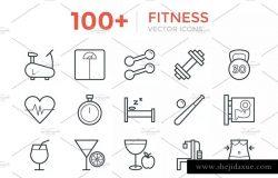 100+健身俱乐部健康运动矢量线条ico图标 100+ Fitness Vector Icons