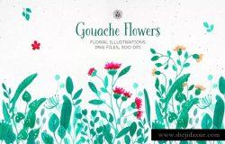 鲜艳水粉花卉插图合集 Gouache Flowers