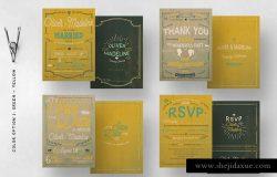 复古手写字邀请函/请帖设计模板套装 Vintage Hand Lettering Invitation Set