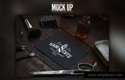 时尚高端的酷酷的理发店VI样机展示模型mockups