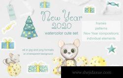 手绘水彩新年鼠年装饰元素剪贴画素材合辑