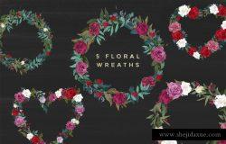 浪漫水彩花卉设计素材