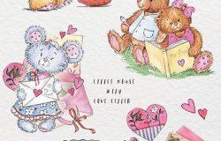 手绘情人节可爱小熊水彩素材PNG素材