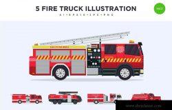 5款消防车灭火车矢量图形插画素材