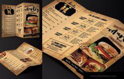 Old School设计风格咖啡店折页菜单设计模板 Cafe Menu Trifold