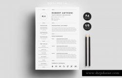 三页式极简主义素色简历模板
