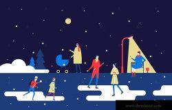 冬日公园场景扁平设计风格矢量插画 Winter park – flat design style illustration